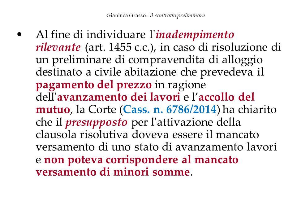 Gianluca Grasso - Il contratto preliminare Al fine di individuare l'inadempimento rilevante (art. 1455 c.c.), in caso di risoluzione di un preliminare