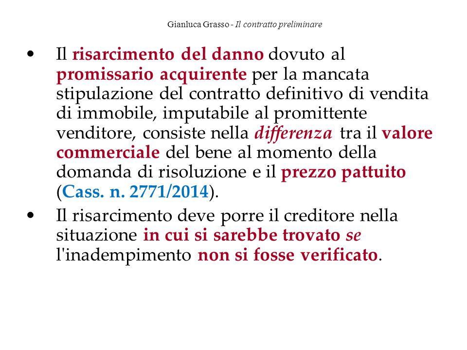 Gianluca Grasso - Il contratto preliminare Il risarcimento del danno dovuto al promissario acquirente per la mancata stipulazione del contratto defini