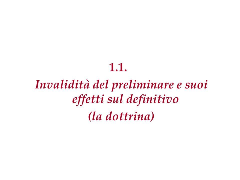 Gianluca Grasso - Il contratto preliminare In dottrina si discute in ordine alle conseguenze sulla validità del definitivo in caso di invalidità del preliminare.