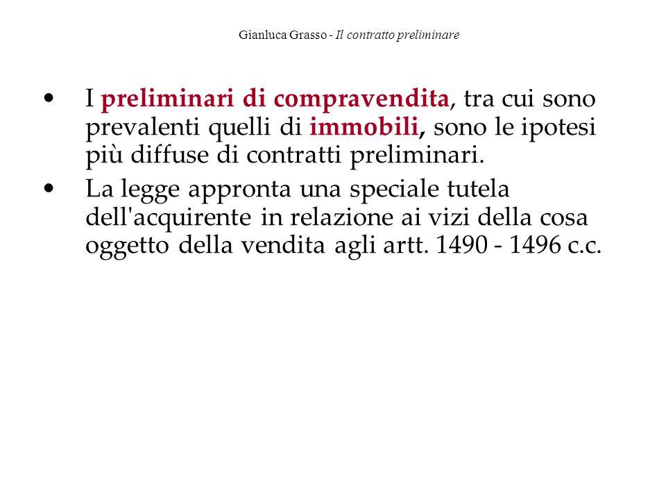 Gianluca Grasso - Il contratto preliminare I preliminari di compravendita, tra cui sono prevalenti quelli di immobili, sono le ipotesi più diffuse di