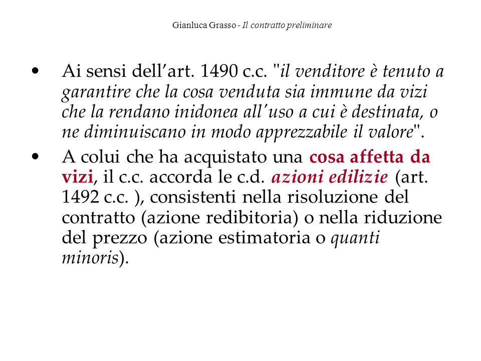 Gianluca Grasso - Il contratto preliminare Ai sensi dell'art. 1490 c.c.