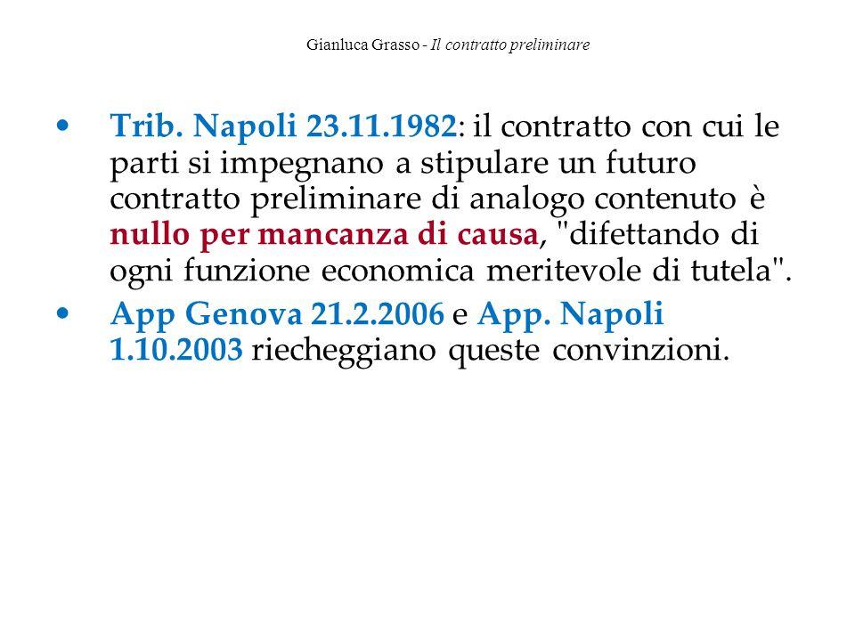 Gianluca Grasso - Il contratto preliminare Trib. Napoli 23.11.1982: il contratto con cui le parti si impegnano a stipulare un futuro contratto prelimi