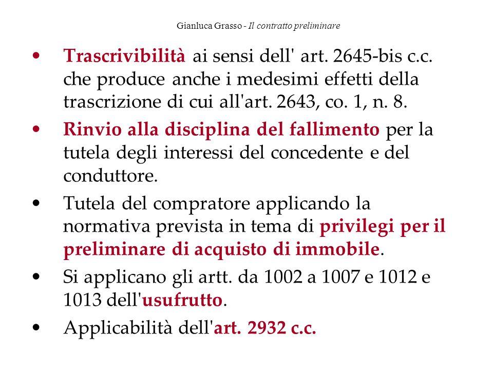 Gianluca Grasso - Il contratto preliminare Trascrivibilità ai sensi dell' art. 2645-bis c.c. che produce anche i medesimi effetti della trascrizione d