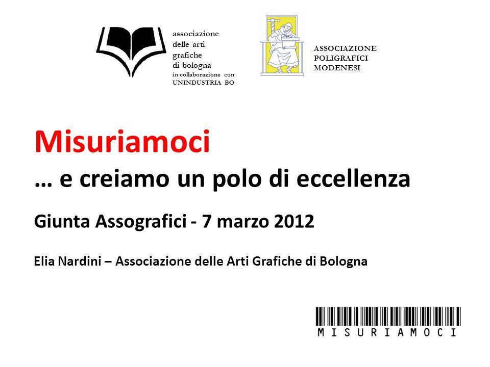 Misuriamoci … e creiamo un polo di eccellenza Giunta Assografici - 7 marzo 2012 Elia Nardini – Associazione delle Arti Grafiche di Bologna associazione delle arti grafiche di bologna in collaborazione con UNINDUSTRIA BO ASSOCIAZIONE POLIGRAFICI MODENESI