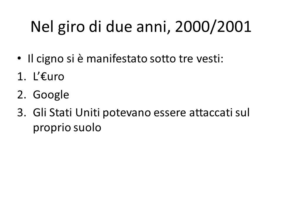 Nel giro di due anni, 2000/2001 Il cigno si è manifestato sotto tre vesti: 1.L'€uro 2.Google 3.Gli Stati Uniti potevano essere attaccati sul proprio suolo