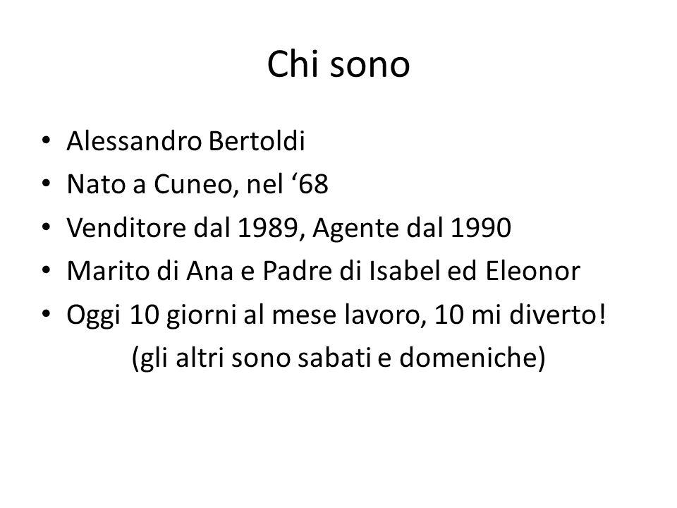 Chi sono Alessandro Bertoldi Nato a Cuneo, nel '68 Venditore dal 1989, Agente dal 1990 Marito di Ana e Padre di Isabel ed Eleonor Oggi 10 giorni al mese lavoro, 10 mi diverto.