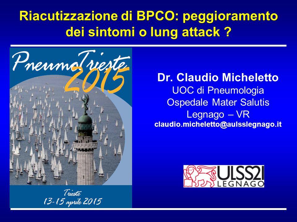 Dr. Claudio Micheletto UOC di Pneumologia Ospedale Mater Salutis Legnago – VR claudio.micheletto@aulsslegnago.it Riacutizzazione di BPCO: peggiorament