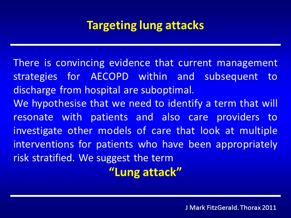 Targeting lung attacks J Mark FitzGerald. Thorax 2011 There is convincing evidence that current management strategies for AECOPD within and subsequent