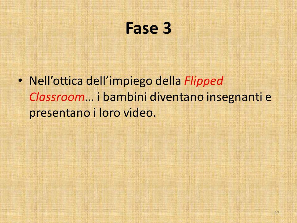 Fase 3 Nell'ottica dell'impiego della Flipped Classroom… i bambini diventano insegnanti e presentano i loro video. 17