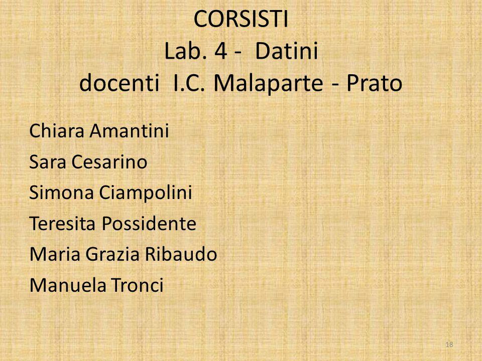 CORSISTI Lab. 4 - Datini docenti I.C. Malaparte - Prato Chiara Amantini Sara Cesarino Simona Ciampolini Teresita Possidente Maria Grazia Ribaudo Manue