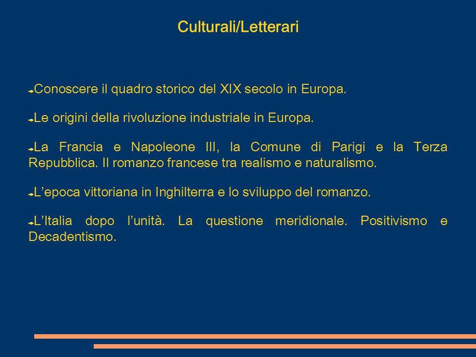 Culturali/Letterari Conoscere il quadro storico del XIX secolo in Europa. Le origini della rivoluzione industriale in Europa. La Francia e Napoleone I