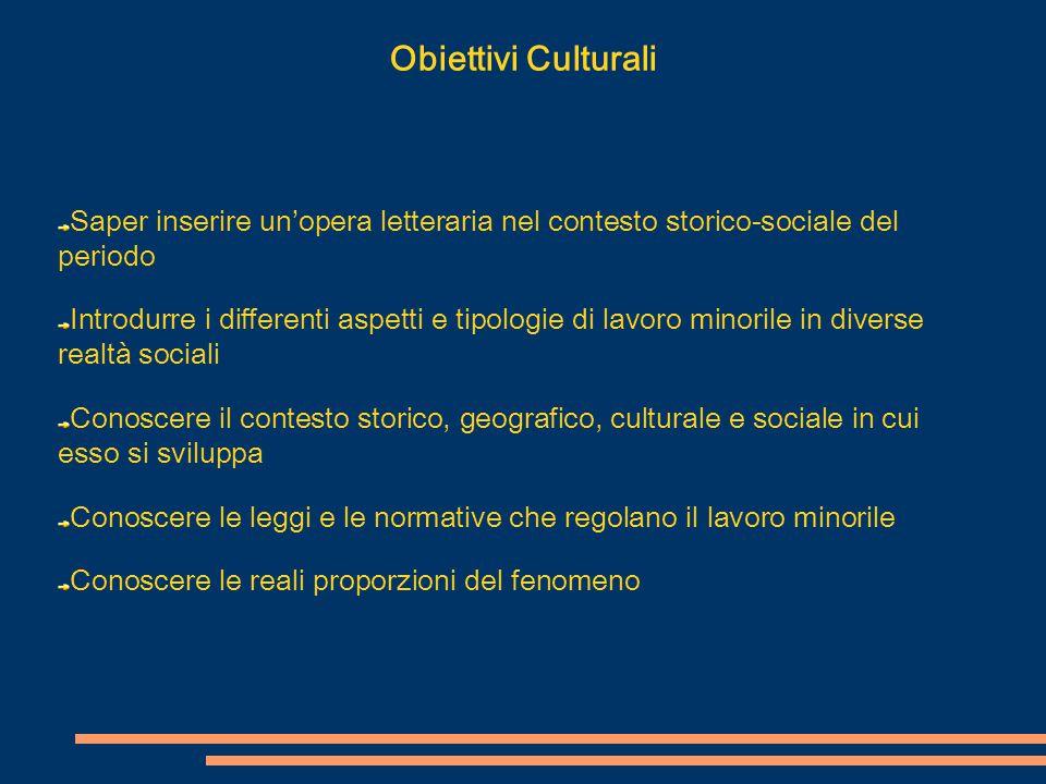 Obiettivi Culturali Saper inserire un'opera letteraria nel contesto storico-sociale del periodo Introdurre i differenti aspetti e tipologie di lavoro