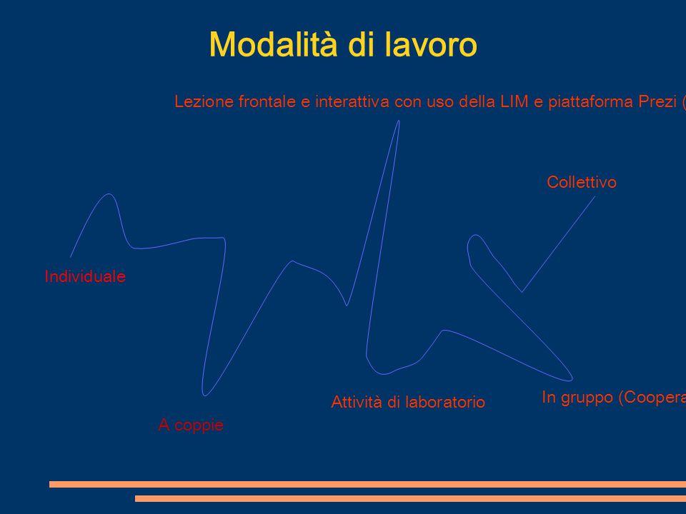 Modalità di lavoro Individuale A coppie Lezione frontale e interattiva con uso della LIM e piattaforma Prezi (flipped lesson) In gruppo (Cooperative l