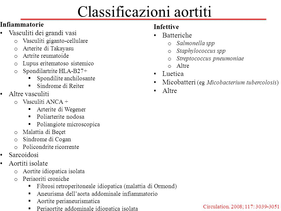 Infiammatorie Vasculiti dei grandi vasi o Vasculiti giganto-cellulare o Arterite di Takayasu o Artrite reumatoide o Lupus eritematoso sistemico o Spon