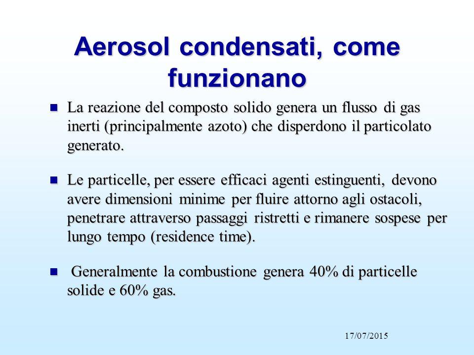 Aerosol condensati, come funzionano n La reazione del composto solido genera un flusso di gas inerti (principalmente azoto) che disperdono il particol