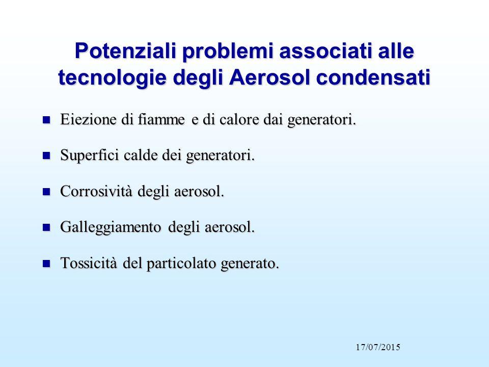 Potenziali problemi associati alle tecnologie degli Aerosol condensati n Eiezione di fiamme e di calore dai generatori. n Superfici calde dei generato