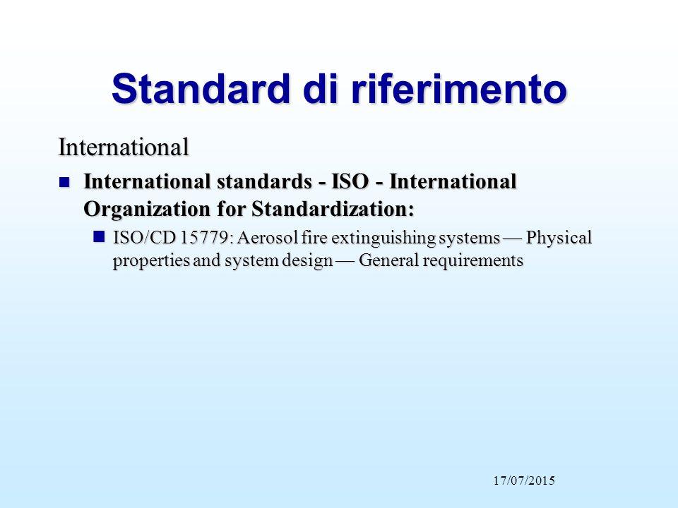 International n International standards - ISO - International Organization for Standardization: nISO/CD 15779: Aerosol fire extinguishing systems — Ph