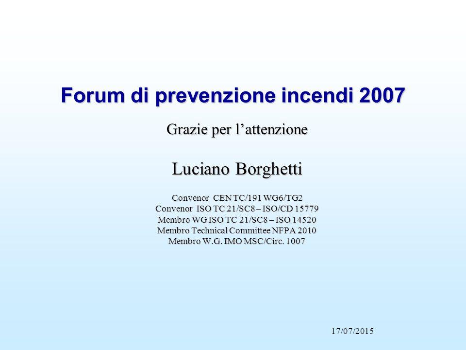 17/07/2015 Forum di prevenzione incendi 2007 Grazie per l'attenzione Luciano Borghetti Convenor CEN TC/191 WG6/TG2 Convenor ISO TC 21/SC8 – ISO/CD 157
