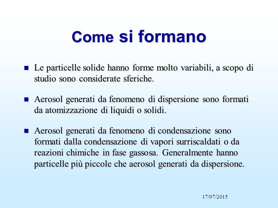 Come si formano n Le particelle solide hanno forme molto variabili, a scopo di studio sono considerate sferiche. n Aerosol generati da fenomeno di dis