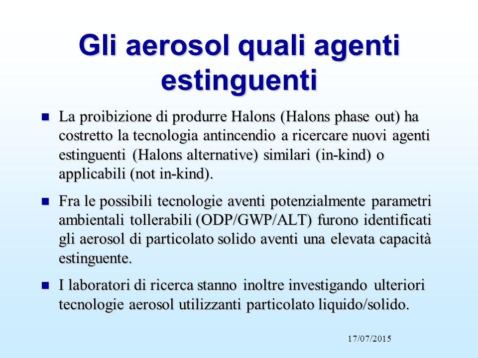 Gli aerosol quali agenti estinguenti n La proibizione di produrre Halons (Halons phase out) ha costretto la tecnologia antincendio a ricercare nuovi a