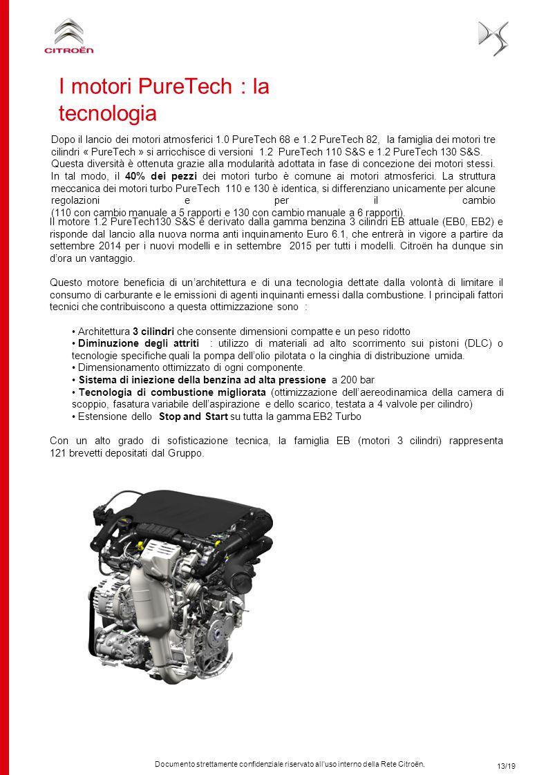 Documento strettamente confidenziale riservato all'uso interno della Rete Citroën. Il motore 1.2 PureTech130 S&S è derivato dalla gamma benzina 3 cili