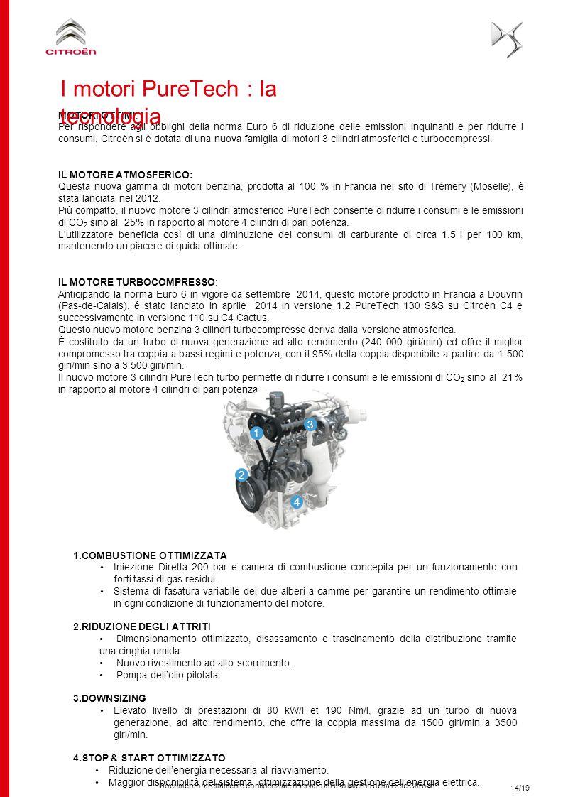 Documento strettamente confidenziale riservato all'uso interno della Rete Citroën. 1.COMBUSTIONE OTTIMIZZATA Iniezione Diretta 200 bar e camera di com