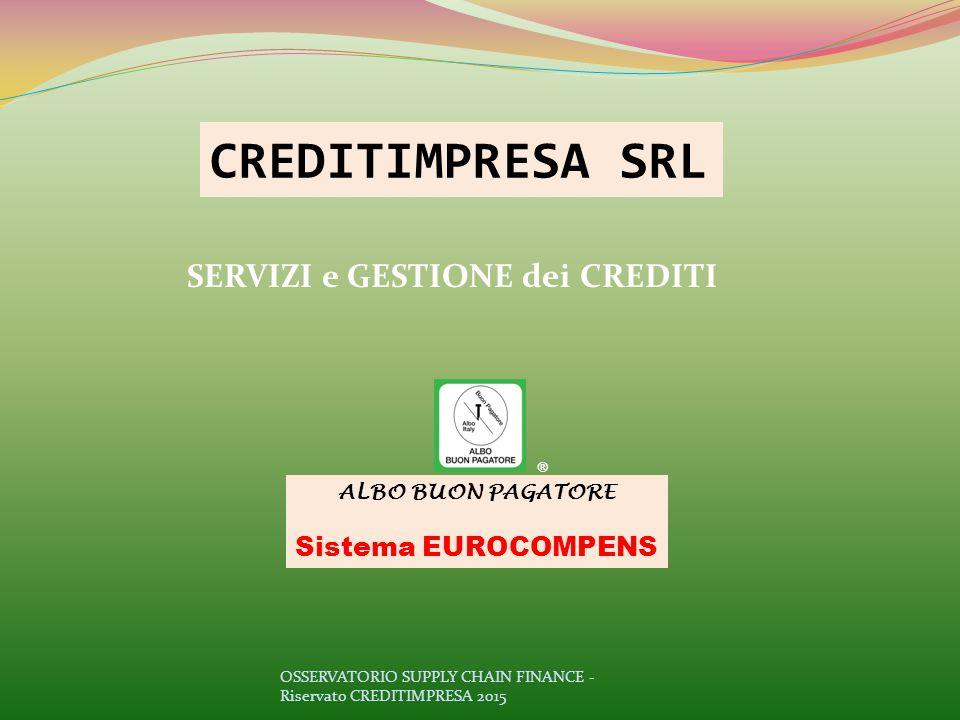 SERVIZI e GESTIONE dei CREDITI CREDITIMPRESA SRL ALBO BUON PAGATORE Sistema EUROCOMPENS ® OSSERVATORIO SUPPLY CHAIN FINANCE - Riservato CREDITIMPRESA