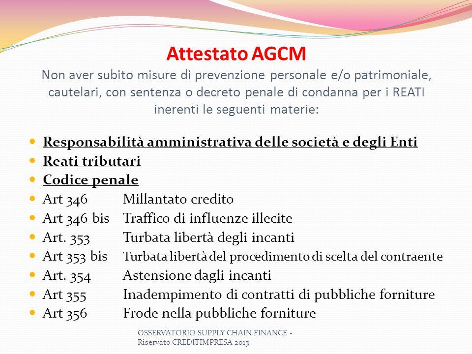 Attestato AGCM Non aver subito misure di prevenzione personale e/o patrimoniale, cautelari, con sentenza o decreto penale di condanna per i REATI iner