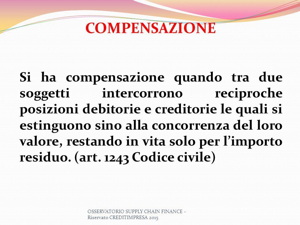 COMPENSAZIONE Si ha compensazione quando tra due soggetti intercorrono reciproche posizioni debitorie e creditorie le quali si estinguono sino alla co