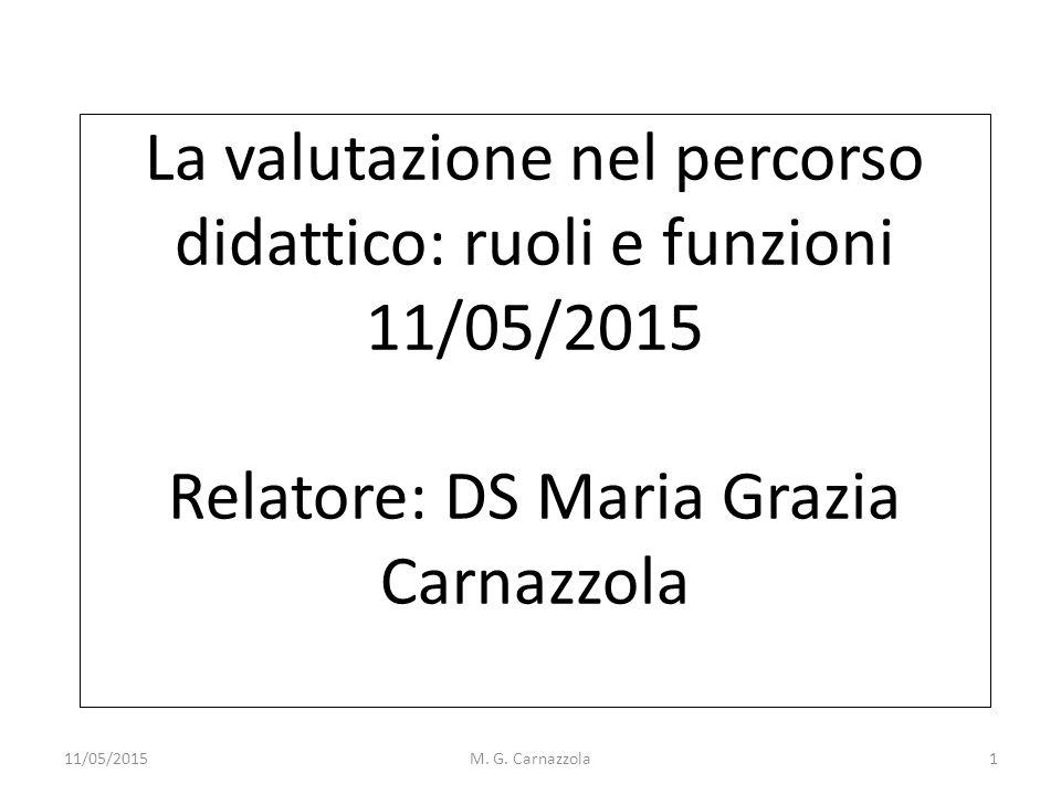 La valutazione nel percorso didattico: ruoli e funzioni 11/05/2015 Relatore: DS Maria Grazia Carnazzola 11/05/2015M. G. Carnazzola1