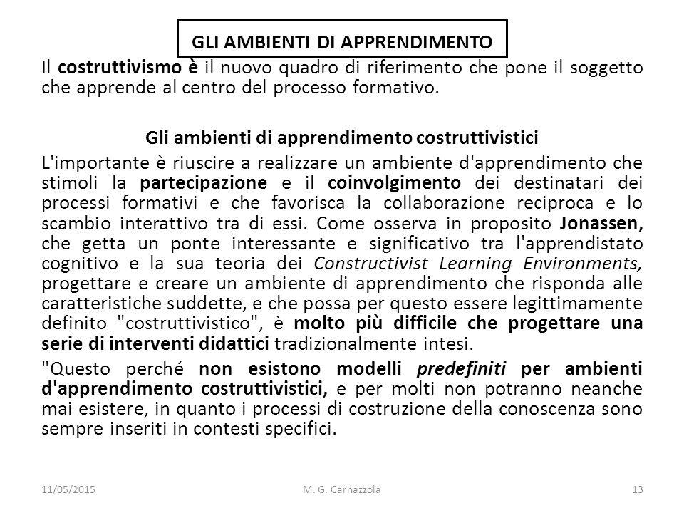 GLI AMBIENTI DI APPRENDIMENTO Il costruttivismo è il nuovo quadro di riferimento che pone il soggetto che apprende al centro del processo formativo. G