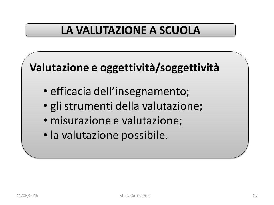 Valutazione e oggettività/soggettività efficacia dell'insegnamento; gli strumenti della valutazione; misurazione e valutazione; la valutazione possibi