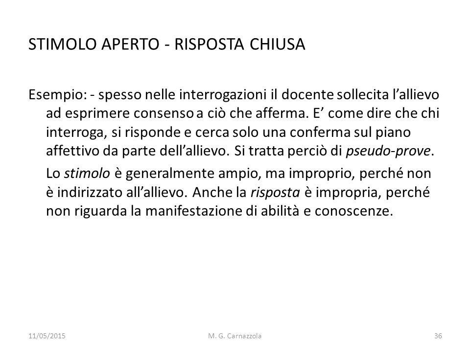 STIMOLO APERTO - RISPOSTA CHIUSA Esempio: - spesso nelle interrogazioni il docente sollecita l'allievo ad esprimere consenso a ciò che afferma. E' com