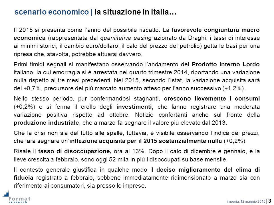 imperia, 12 maggio 2015 | 3 scenario economico | la situazione in italia… Il 2015 si presenta come l'anno del possibile riscatto.