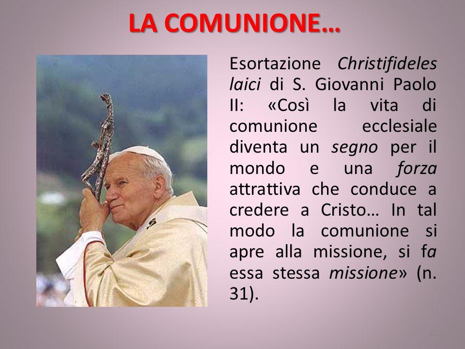 LA COMUNIONE… Esortazione Christifideles laici di S.