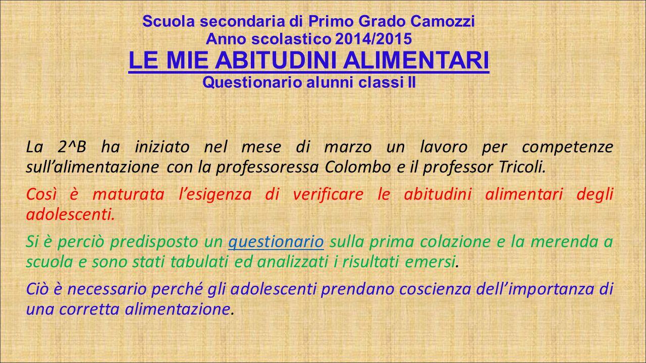 LE MIE ABITUDINI ALIMENTARI Questionario alunni classi II – I.C.