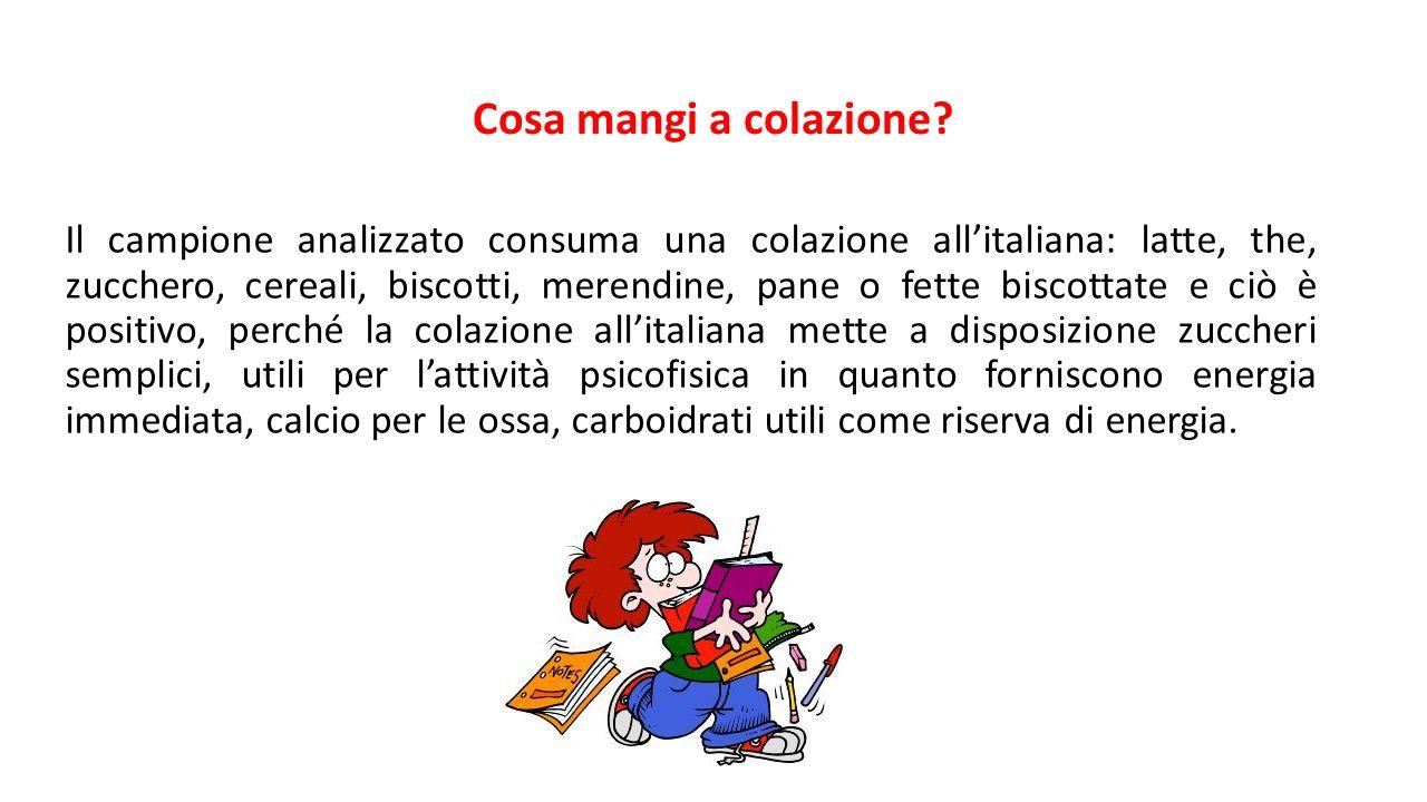 Cosa mangi a colazione? Il campione analizzato consuma una colazione all'italiana: latte, the, zucchero, cereali, biscotti, merendine, pane o fette bi