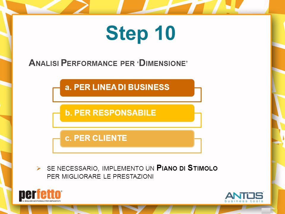Step 10 A NALISI P ERFORMANCE PER ' D IMENSIONE' a.