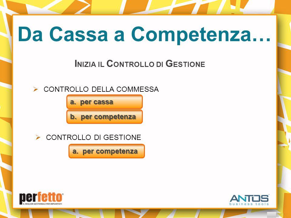 Da Cassa a Competenza… I NIZIA IL C ONTROLLO DI G ESTIONE  CONTROLLO DELLA COMMESSA a.