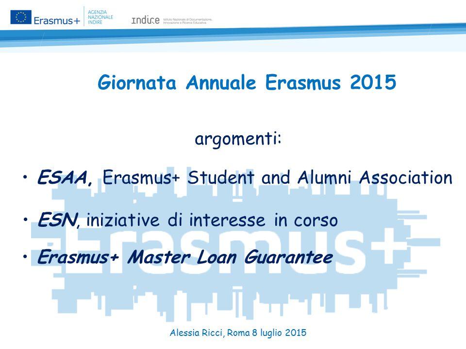 Giornata Annuale Erasmus 2015 argomenti: ESAA, Erasmus+ Student and Alumni Association ESN, iniziative di interesse in corso Erasmus+ Master Loan Guarantee Alessia Ricci, Roma 8 luglio 2015