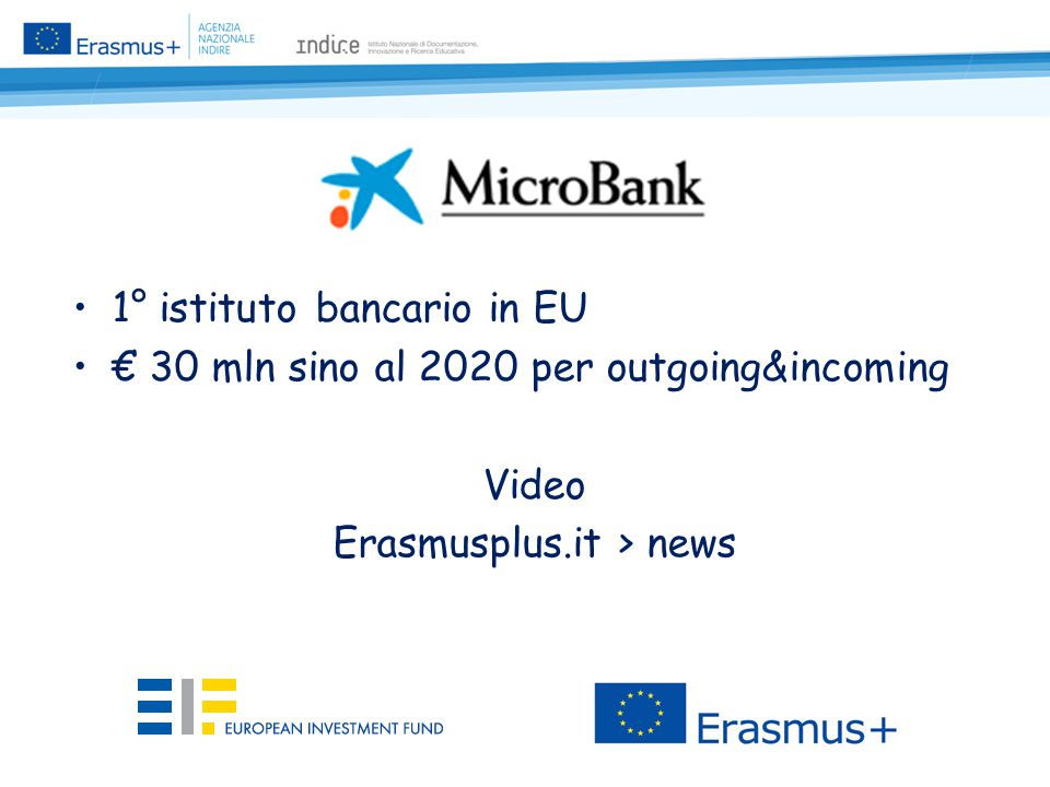 1° istituto bancario in EU € 30 mln sino al 2020 per outgoing&incoming Video Erasmusplus.it > news