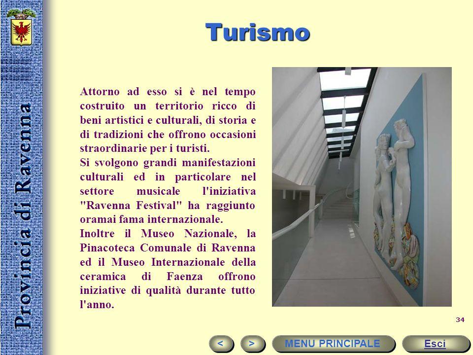 33Turismo 6.500.000 circa le presenze turistiche nella Provincia di Ravenna ogni anno Esci < < > > MENU PRINCIPALE La provincia di Ravenna si caratter