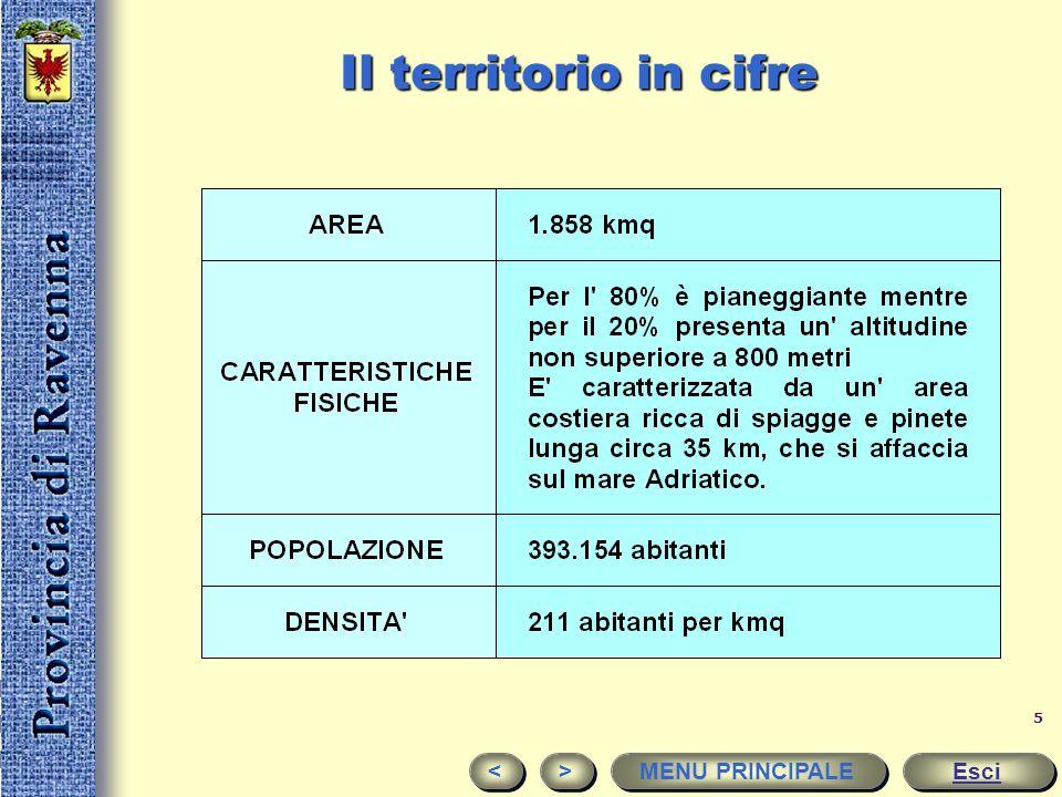 4 è suddivisa in 18 Comuni le aree principali sono: Ravenna, Faenza e Lugo Esci < < > > MENU PRINCIPALE
