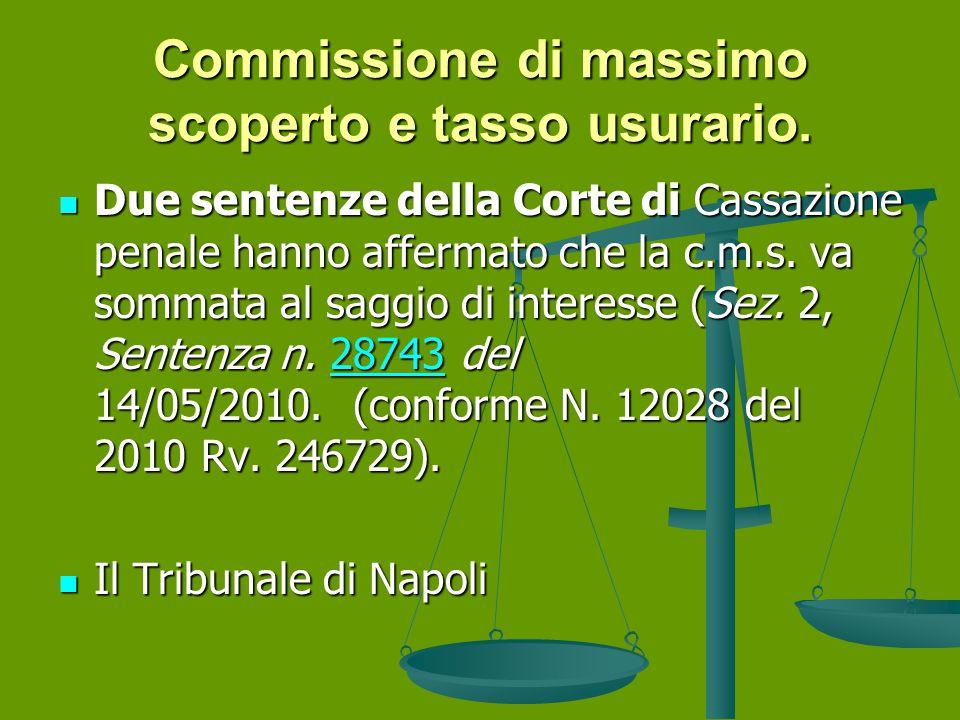 Commissione di massimo scoperto e tasso usurario.