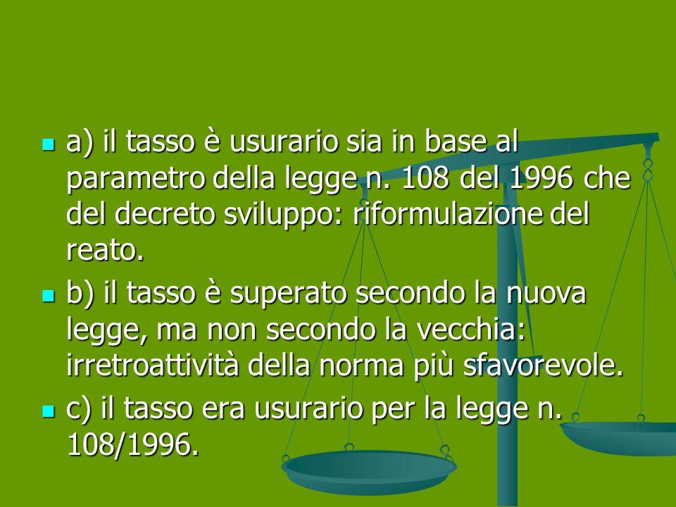 a) il tasso è usurario sia in base al parametro della legge n.