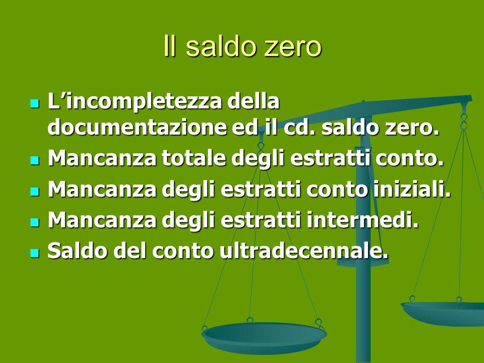 Il saldo zero L'incompletezza della documentazione ed il cd.
