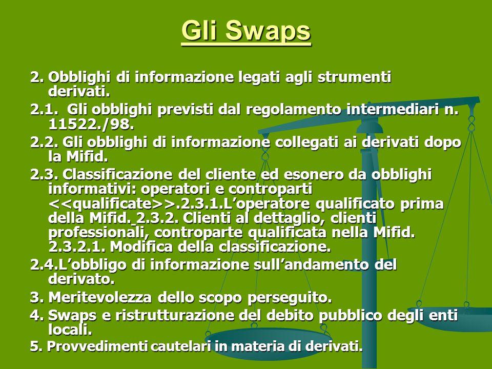 Gli Swaps 2.Obblighi di informazione legati agli strumenti derivati.