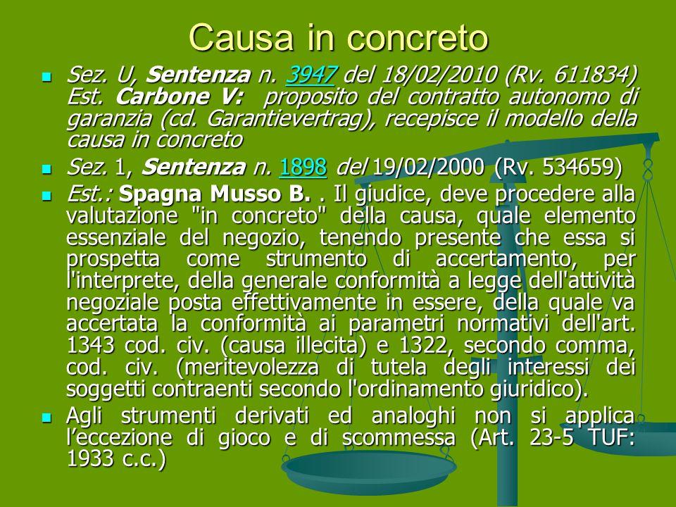 Causa in concreto Sez.U, Sentenza n. 3947 del 18/02/2010 (Rv.