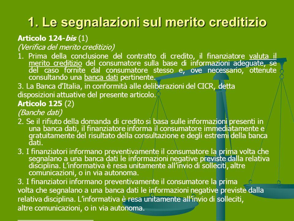 1.Le segnalazioni sul merito creditizio Articolo 124-bis (1) (Verifica del merito creditizio) 1.