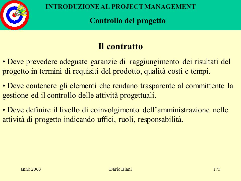 anno 2003Dario Biani174 INTRODUZIONE AL PROJECT MANAGEMENT Controllo del progetto - metodo earned value Stima a finire tempo Lit. Time now budget Cost